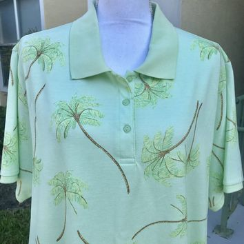 CB CASUAL PLUS Tea & Mint Green Palm Print Polo Shirt, Size 2X