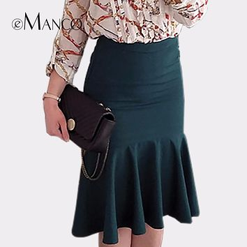 e-Manco High waist Midi School Mermaid skirt Green&Black Sexy Gothic Bodycon Office Elastic Slim Ruffles Vintage Pencil skirt