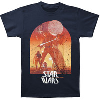 Star Wars Men's  Sunset Poster T-shirt Blue