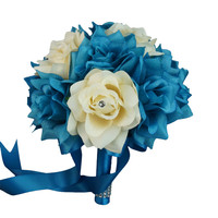 "8"" Bouquet - Turquoise and Ivory with Rhinestone Rose Wedding Bouquet"