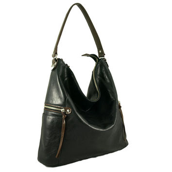 Melanie black leather shoulder bag