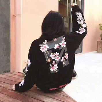 DCCKN6V off-white:Fashion Print Floral Hooded Sport Top Sweater Sweatshirt Hoodie