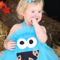 Cookie Monster Inspired Tutu Dress Costume for dress up or playtime LAST DAY To ORDER for Halloween Oct 15th
