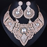 FARLENA Jewelry Full Clear Rhinestones Statement Necklace and Earrings