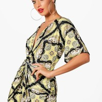Holly Scarf Print Twist Front Kimono Sleeve Playsuit | Boohoo