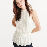 SHINE PEPLUM MOCK NECK TANK