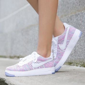 DCCKGV7 Originals Nike Air Force One 1 Flyknit Low Multicolor / White Women Running Sport Casual Shoes '07 820256-102 Sneakers