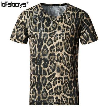 PEAPGC3 BFSBOYS 2017 Men's Clothing Cotton and Silk Leopard Print Slim O-neck Short-sleeve Adventure Time Male T-shirt Clothes SIZE 5XL