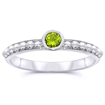 JewelryBliss 925 Sterling Silver 3mm Round Shape Bezel Set Natural Peridot Gemstone Solitaire Ring Birthstone August