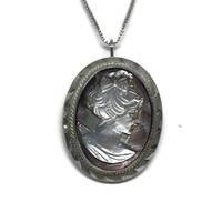 Cameo Brooch Sterling Silver Mother of Pearl, Vintage Cameo Pendant Necklace, Cameo Jewelry, Sterling Silver Jewelry, Shell Cameo Pin