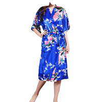 Sexy Silk  For Women Sleepwear Female Robe 2016 Hot Selling Bridal Faux Silk Robe Kimono 2016 New Silk Womens Robe