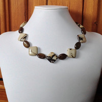 Petrified Wood, Bronzite and Sterling Silver Handmade Necklace, Brown Necklace, Women's Necklace, Gift for Her, One of a Kind