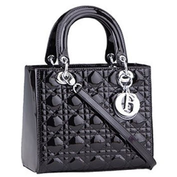 Dior Small Lady Cannage Bag Patent Leather Black