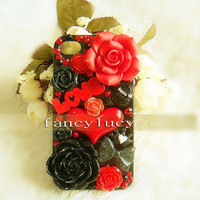 iphone 4 skin, floral iphone 5 case, iphone 4s case, Punk iPhone 4 Case, bling iPhone 4s case, Cute iPhone 5 cover Flowers for Love