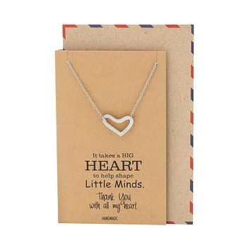 Gracie Teacher Gifts, Heart Necklace and Thank You Cards