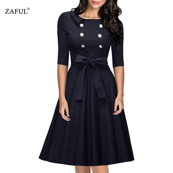ZAFUL New Women Retro Dress Audery Vintage Elegant 1950S 60S half Sleeve Big Hem button Party Dresses Feminino Vestidos