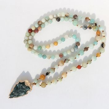 FANCY SCANDAL Amazonite Stones Rosary Chain Arrowhead Pendant Mala Necklace Handmade Women Natural Stone Bead Long Necklace
