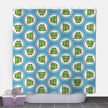 Frog Shower Curtain - Blue Green Frog Pattern - 71x74 - PVC liner optional - Made to Order
