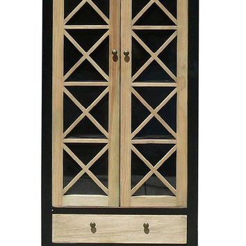 Tall Natural Wood Display Cabinet With Glass Door & Drawers mh259S