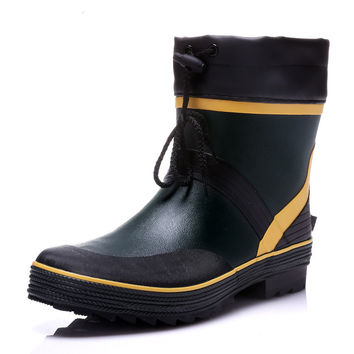Drawstring Ankle Mens Rubber Rain Boots Men Water Shoes Pvc Waterproof Gummisitefel Rainboots Quality Anti-slip Botas Hombre
