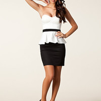 Bandeau Peplum Dress - Elise Ryan - Black/White - Party Dresses - Clothing - Women - Nelly.com