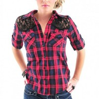 Red Navy Plaid Lace Trim Shirt - Diva Hot Couture