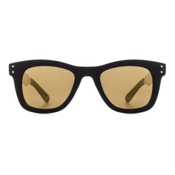 Komono - Allen Metal Series Black Gold Sunglasses / Polycarbonate Light Gold Mirror Lenses
