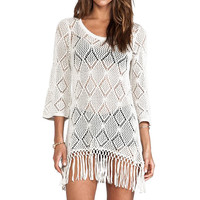 Sexy Crochet Knit Fringe Tunic Beachwear Cover-up