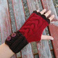 Knit fingerless gloves with cable pattern and buttons, chocolate brown and berry red merino arm warmers / wrist warmers