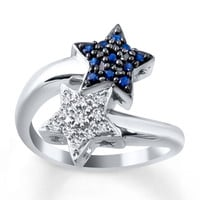 Star Ring Lab-Created Sapphire Sterling Silver