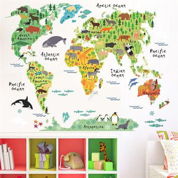 cartoon animals world map wall stickers for kids rooms office nursery home decor 037 diy wall decals poster mural art