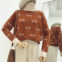 Gucci Fashion Casual Women High Neck Long Sleeve Double G Pullover Sweater Brown G