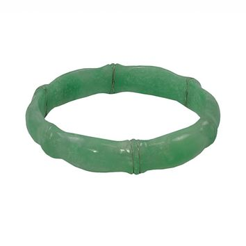 Sterling Silver Jade Bangle Bracelet (Green)