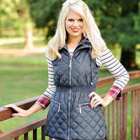 Rochelle Cinched Waist Long Hooded Puffer Vest with Zip Pockets : Navy