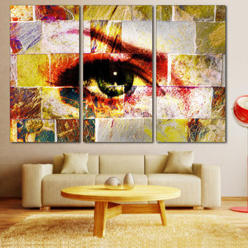 Abstract Eye Art Poster Print - Abstract Art Photo on Canvas, Woman Eye Wall Art for Home or Office Decoration