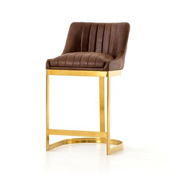 TORY BAR + COUNTER STOOL, Vintage Tobacco, Satin Brass