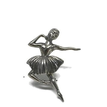 Ballerina Brooch, Sterling Silver Dancer Brooch, Ballet Dance Jewelry, Vintage Pins and Brooches, Vintage Jewelry, Ballerina Pin, Gift Idea