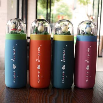 2017 new cute totoro thermos bottle creative ghibli termos cup and mug stainless steel portable vacuum good choice for gift
