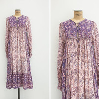 1970s Dress - Vintage 70s Cotton Gauze Dress - Hindi Song Dress