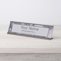 Gray fractal. Add your own text. Desk Name Plate