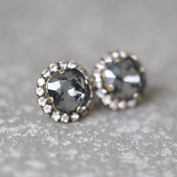 Gray Rhinestone Stud Earrings Swarovski Crystal Studs Rhinestone Grey Diamond Pendant Necklace Mashugana
