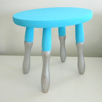 Milking stool or step stool in bright aqua blue and silver cool color blocking