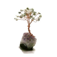 Gemstone Crystal Wire Bonsai Money Tree - Sesame Jasper Stone Leaves on Amethyst Crystal Base