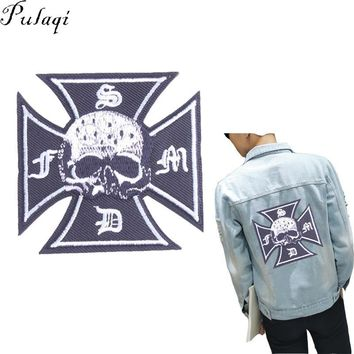 Trendy Pulaqi Fashion Cross Skull Patch Iron On Denim Jacket Sewing On Clothing Embroidered Badge Applique Decal For DIY Accessories H AT_94_13