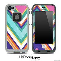 Slanted Chevron V1 Fun Color Pattern Skin for the iPhone 5 or 4/4s LifeProof Case