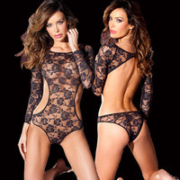 Sexy Long Sleeve Backless Lace One Piece Bodysuit Lingerie