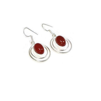 Sterling Silver Carnelian Earrings , Gift For Her