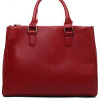 Red Handbag with Buckle Closure & Removable Straps