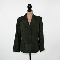 Olive Green Jacket Women Large Green Blazer Olive Jacket Size 12 Jacket Suit Jacket Micro Suede Faux Casual Womens Blazers Womens Clothing