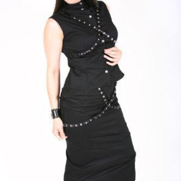 Black Pencil Skirt and Mandarin Collar Top with Grommet Straps